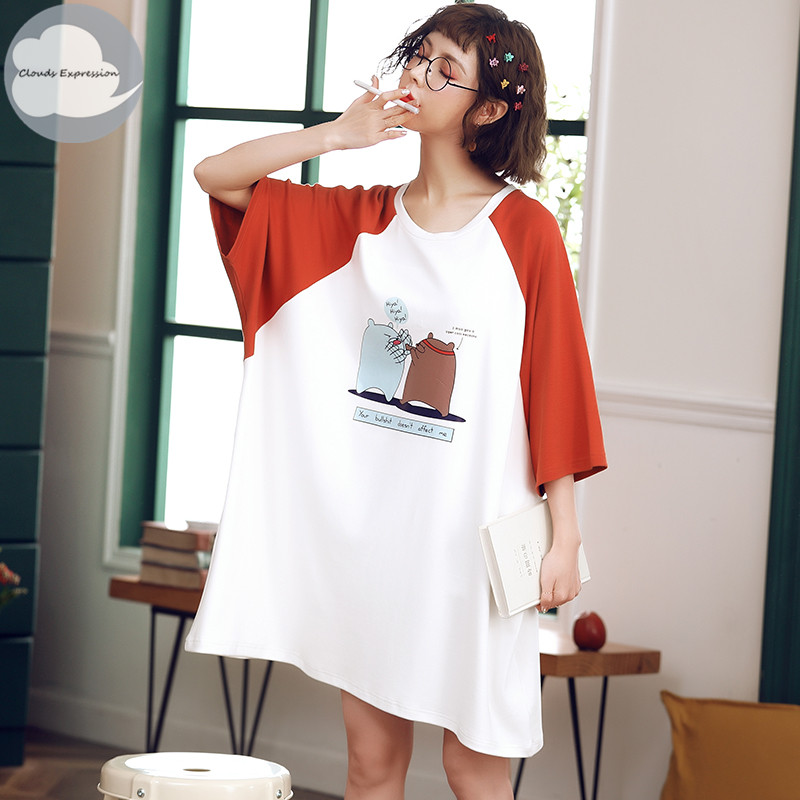 Summer 100% Cotton Women's   Nightgown   Nightdress Batwing Sleeved Sleepwear Nightdress Big Loose   Nightgowns     Sleepshirts   Fashion