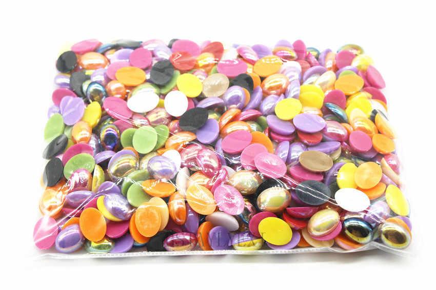 200 sztuk moda 13*18mm mix kolor owalny kształt biała perła AB plated żywica ABS sztuczna pearl koraliki flatback DIY scrapbooking