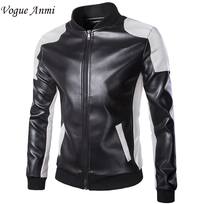 2018 new leather jacket men Leather,Mandarin Collar,Contrast Color,Coat male,Leather jacket men,mens leather jackets and coats