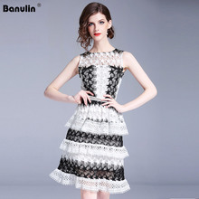 Banulin 2019 High quality luxury Runway Summer Hollow Out Sleeveless Black White Lace Cake Dress Women Party vestidos
