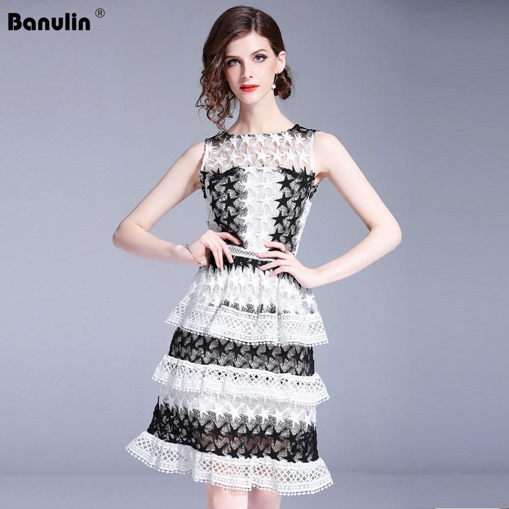 Banulin 2019 haute qualité piste de luxe été évider sans manches noir blanc dentelle robe de gâteau femmes robe de soirée vestidos