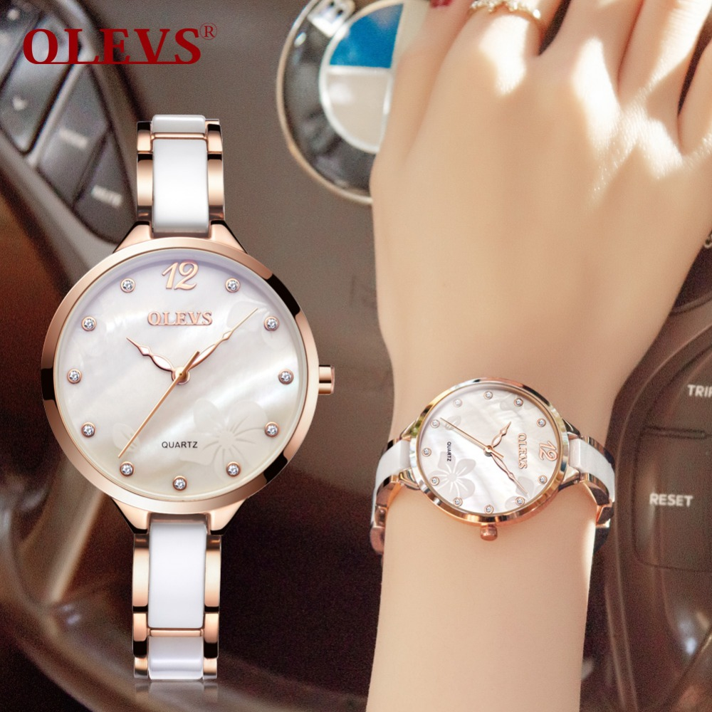 OLEVS Ceramic Dress Women Watch Luxury Rose Gold Ladies Wris