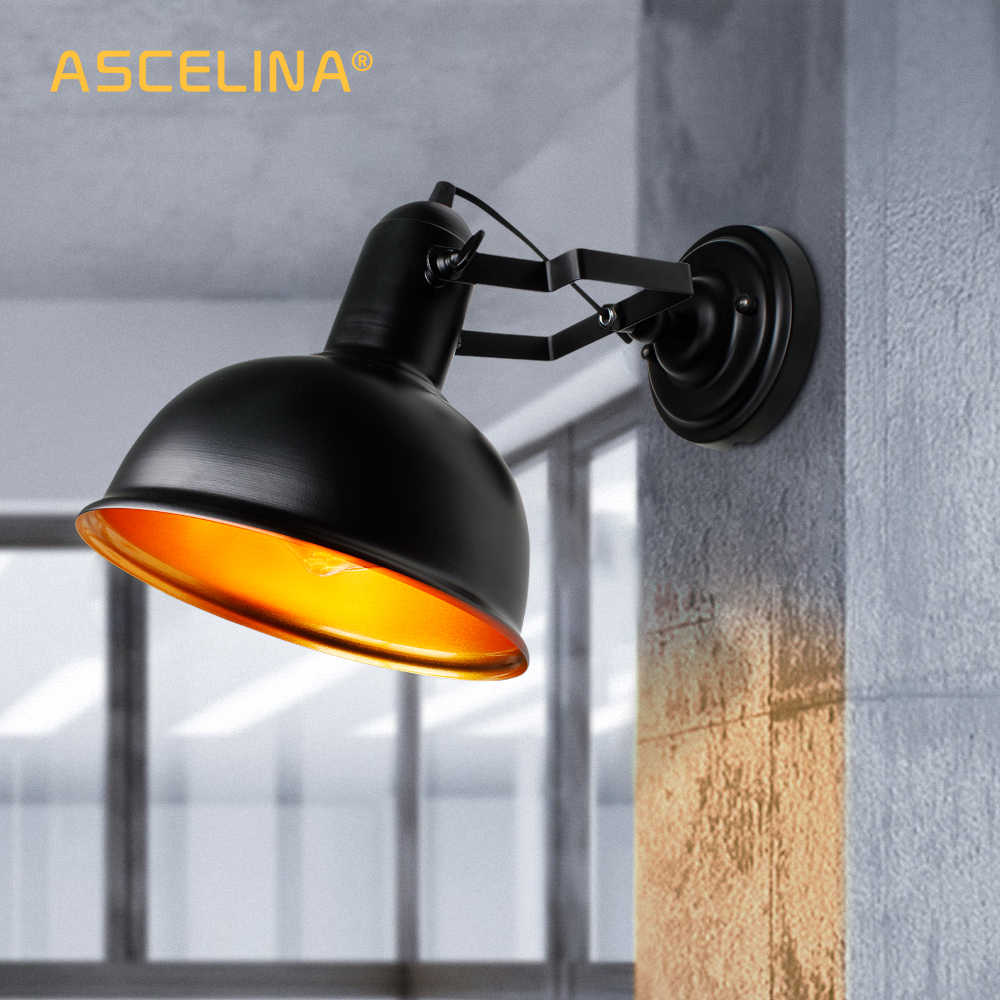 wall lamp,Industrial vintage wall light,Iron Retro sconce,Bracket adjustable,E27,CE certification,90-260V,max 60W,16x21.5cm(DxA)
