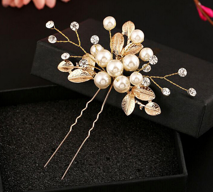 wedding pearty metal leaf with cream pearl beads braided handmade hair stick U shape hairpin hair accessories bride hair jewelry 00009 red gold bride wedding hair tiaras ancient chinese empress hair piece