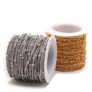 Image 3 - Corrente de colares 2mm 3mm, corrente de metal inoxidável torcida, esfera de ouro, de metal, para colares pulseiras fabricação de joias dos pés