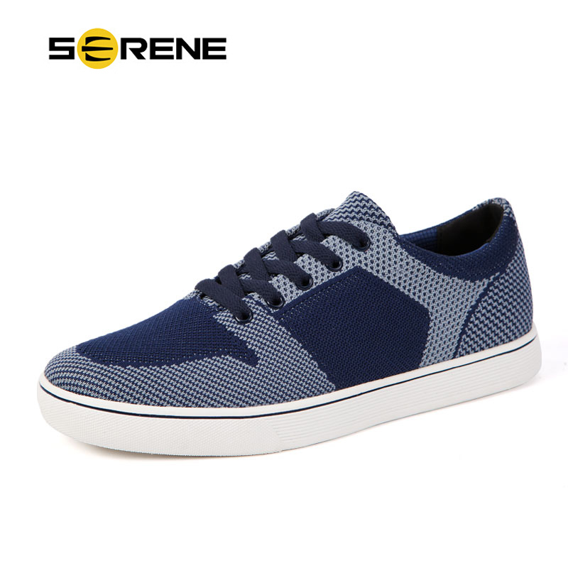 ФОТО SERENE Fashion Breathable Yarn-dyed Fabric Men Shoes Mens Casual Shoes Skid Lace-up Flats (Blue/Orange) Chaussures hommes 7135