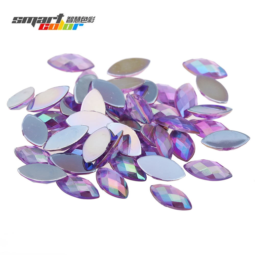 Acrylic Rhinestones 6x12mm 5000pcs Flatback Marquise Earth Facets AB color Rhinestone Strass High Shine Nail Art Decorations купить