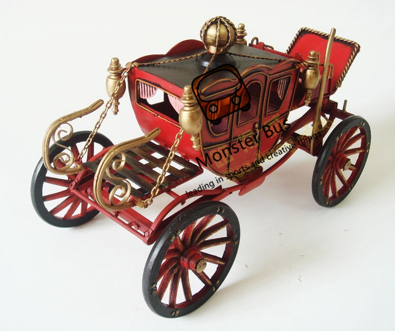US $63 83 16% OFF Horse Drawn Wheeled Vehicle Palace Retro Classic Carriage  100% Handmade Iron Sheet Model 1:12 Metal Carriage Model Decoration-in