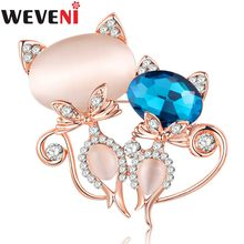 WEVENI Rhinestone Opal Cat Brooch For Women Brooches Pin Collar Suit Scarf Decoration Kitten Souvenir New Fashion Animal Jewelry(China)