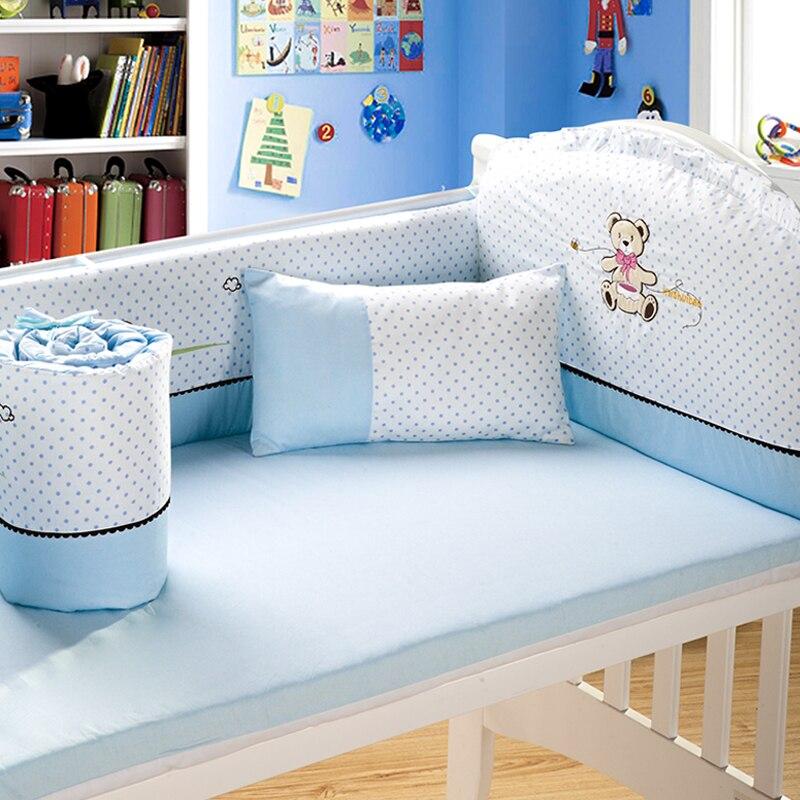 4pcs Embroidery Baby Bedding Set 110x140cm 100 Cotton Pink