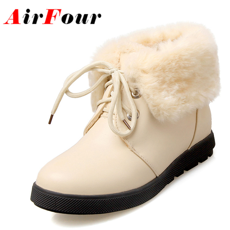 ФОТО Airfour 2016 Fashion Warm Fur Boots Women Flat Ankle Boots Lace-up Sweet Lady Casual Shoes Woman School Shoes Pink Black Beige