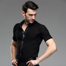 Summer male Latin dance samba Paso Doble square dance shirt top performance wear adult male short-sleeve shirt competition wear