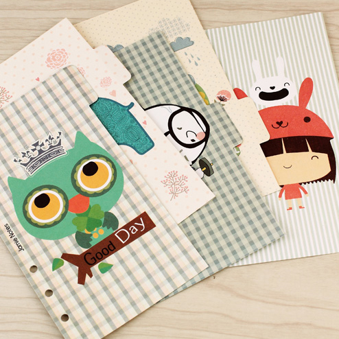 Creative original 6 holes index paper core for spiral notebook, cute cartoon separator page dividers for diary planner, A5 A6 my beauty diary 10 page 6