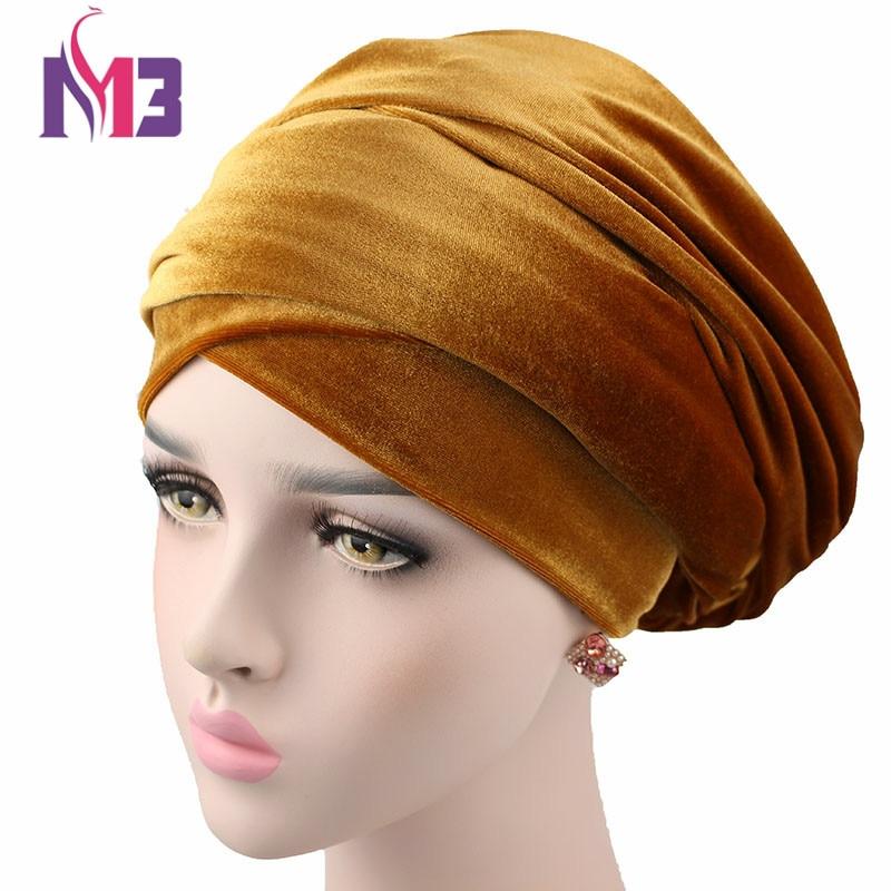 Moda mujeres Turbante de usos múltiples extra larga terciopelo Turbante diadema Headwrap Hijab Turbante Head Tie accesorios para el cabello