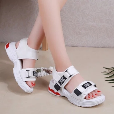 Fashion 2018 female summer new sandals with fashion solid color Velcro female casual student shoes casual men s sandals with striped and velcro design
