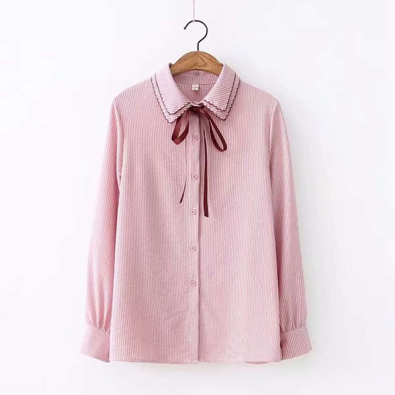 Women Spring Preppy Blouse Cute Long Sleeve Shirt Tops