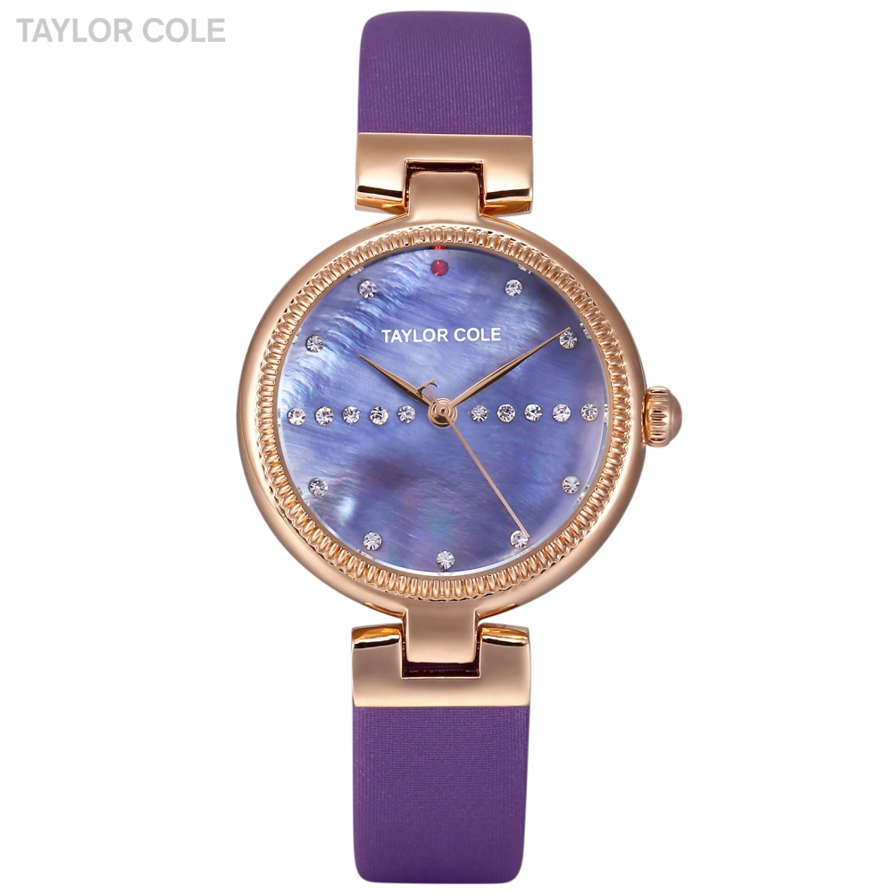 Taylor Cole Women Watches Casual Ladies Clock Crystal Case Blue Leather Strap Feminino Reloj Mujer Quartz Wristwatch Gift/TC118 taylor cole relogio tc013