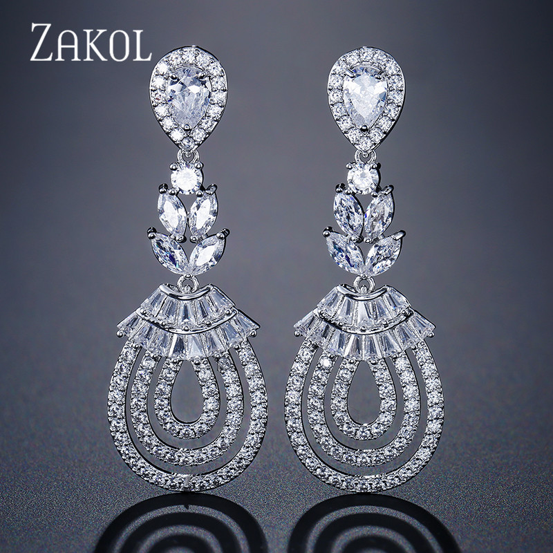 ZAKOL Luxury Leaf Dangle Drop Earrings For Women Fashion Water Drop Cubic Zirconia Earrings Wedding Jewelry FSEP242 pair of chic rhinestoned water drop earrings for women