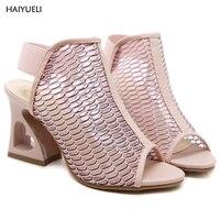9 cm Đôi Giày Màu Hồng Mùa Hè Phụ Nữ Cao Gót Dép Nêm Thời Trang Kỳ Lạ Phong Cách Gót Chân Ladies Wedge Gót Sandales Talon Femme