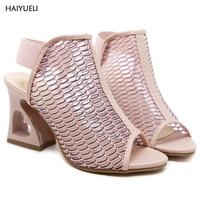 9cm Pink Shoes Summer Women High Heel Wedge Sandals Fashion Strange Style Heel Ladies Wedge Heels