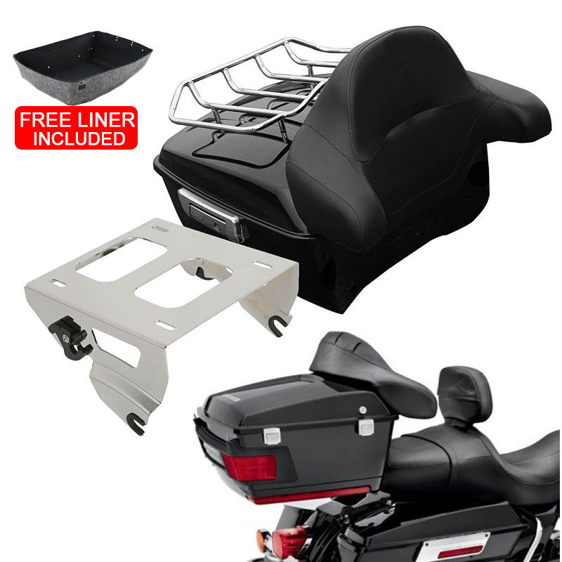 Motorcycle King Pack Trunk Backrest Mounting Rack For Harley Tour Pak Touring Road King Electra Street Gilde FLHR FLH FLHX 14 19|Motorcycle Trunk| |  - title=