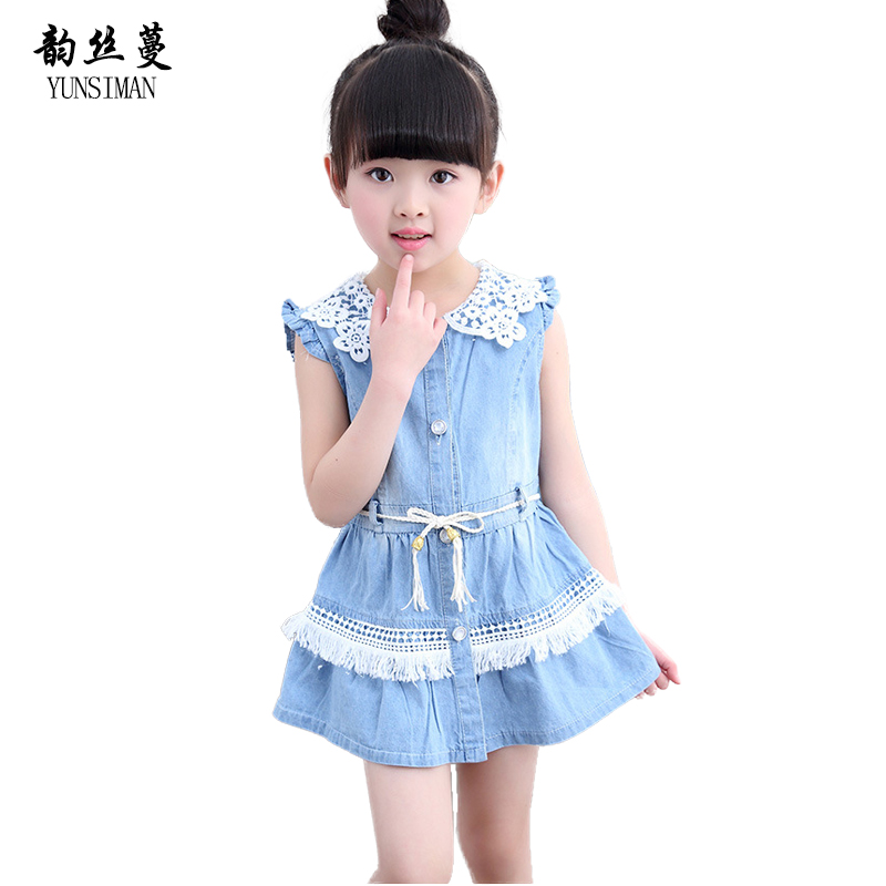 2018 Baby Girls Jeans Dress Size 4 5 6 7 8 9 Y Cotton Girl Clothing Denim Mini Dresses Jean Cute Casual Party Shirt Dress 9C08