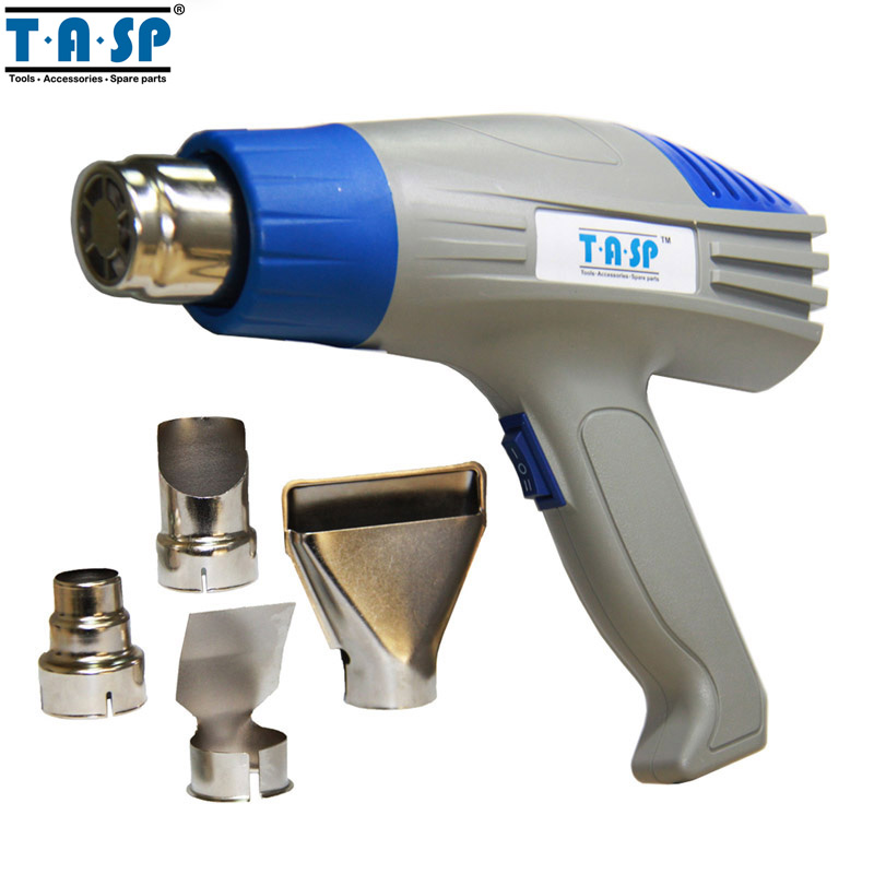 ФОТО TASP Electric 220V 2000W Heat Gun Power Tools Adjustable Dual Temperature Hot Air Gun with 4 Accessories