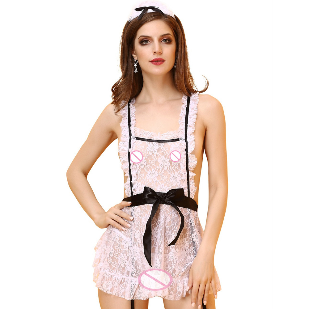 Woman Sexy Housemaid Costume Apron+G-String+Headwear 3pcs Sexy Lingerie Girls Lace See-Through Erotic Babydolls Maid Cosplay