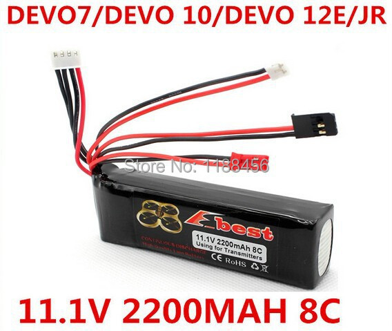 (In stock) <font><b>2200mAh</b></font> <font><b>11.1V</b></font> 8C Li-Po Battery for DEVO 7 DEVO 10 DEVO 12E DEVO F12E JR, etc Transmitter Li-poly RC Battery image