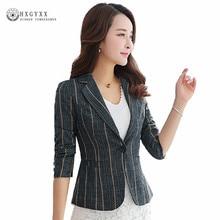 Long Sleeve Stripe Blazer Women Clothes 2020 Spring Causal Single Button Suit Jacket Female OL Plus