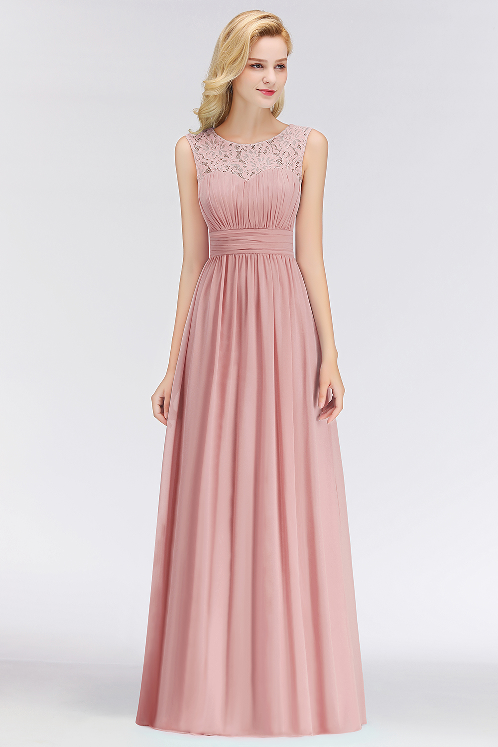 88fe6b8073939 Babyonline Simple Dusty Rose Lace Chiffon Long Evening Dresses 2019  Sleeveless Formal Party Dresses Evening Gown robe de soiree