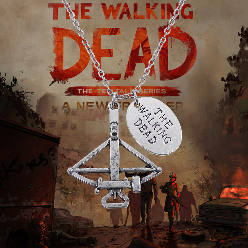 Hot The Walking Dead Necklace Crossbow Pendant Necklace Vintage FEAR THE LIVING Pendants &Necklaces  Movie Jewelry Colar