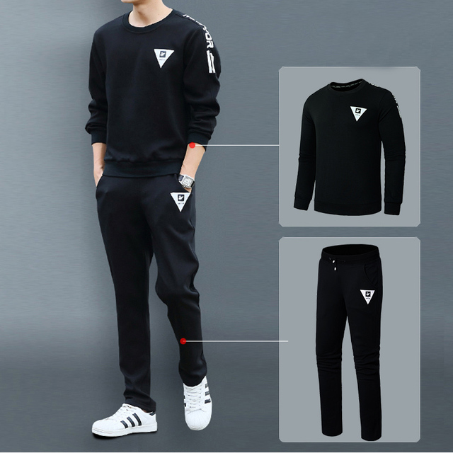 Men Set Sweatshirt Pants Tracksuit Pullover Jogger 2 Piece Thermal Fleece Warm Sweatpants Autumn Winter Long Sleeve Coat Men