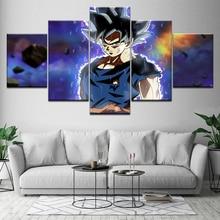 Dragon Ball Super Ultra Instinct Goku 5 részes HD háttérképek Művészet Ponyvás nyomtatás modern poszter Moduláris festészet otthoni díszítéshez