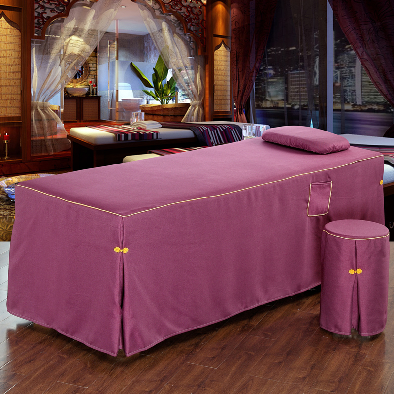 New Cotton Linen Cosmetic Brief Bed Skirt Set 70*190cm Beauty Salon Bedspread with Hole Customized Size Pink Blue #621