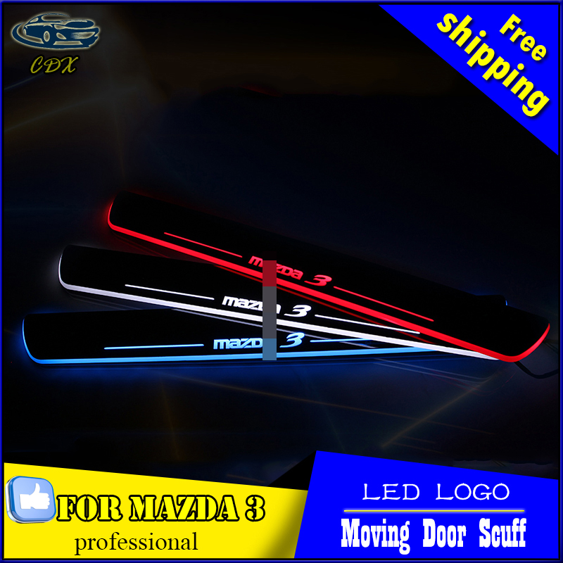 Car Styling LED Moving Door Scuff for Mazda 3 2014-2015 Door Sill Plate LED Welcome Pedal LED Brand Logo Drl Accessories