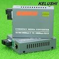 KELUSHI 1 Par HTB-GS-03 A/B Fibra monomodo de Fibra Óptica Media Converter 1000 Mbps Gigabit Puerto SC 20 KM fuente de Alimentación Externa