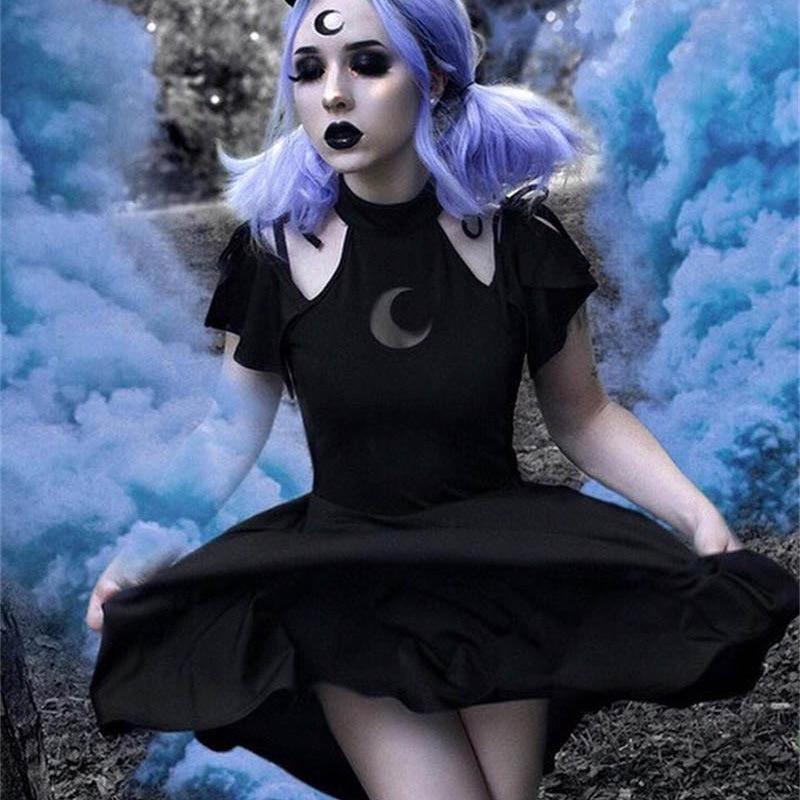 Gothic punk moon pattern dress cold shoulder short sleeve women dress black elegant 2019 spring women high waist cool dresses