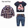 2016 Conjuntos de Roupas para a Primavera Bebê Menino Terno das Crianças Impressão T-camisa de Manga Longa Camisas Xadrez + carro + calça jeans 3 pcs Terno Ajustado