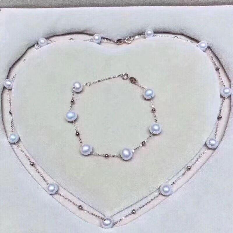 18 k AU750 or collier bracelet ensemble de bijoux perles naturelles étoile conception familiale pour les femmes maman amant filles meilleur cadeau en été