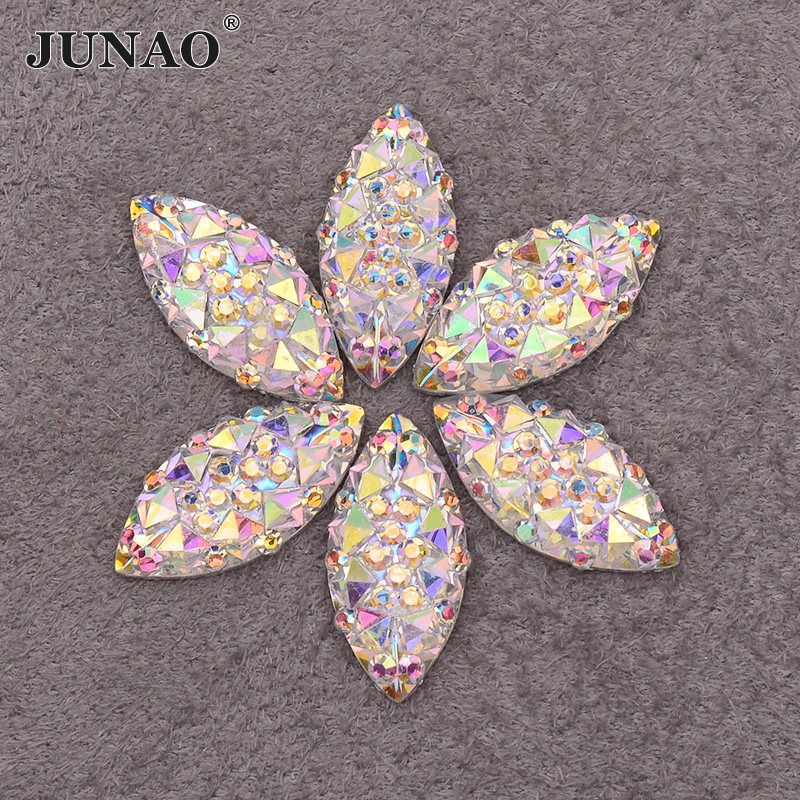 JUNAO 100pcs 7*15mm Crystal AB Resin Flatback Rhinestones Horse Eye Crystal Stones Non Hotfix Diamond Strass For DIY Crafts
