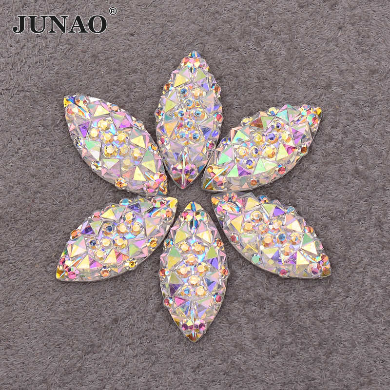 Detail Feedback Questions about JUNAO 100pcs 7 15mm Crystal AB Resin  Flatback Rhinestones Horse Eye Crystal Stones Non Hotfix Scrapbook Strass  for DIY ... 7c0546a1da3e