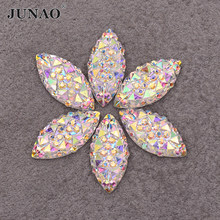 JUNAO 100pcs 7*15mm Crystal AB Resin Flatback Rhinestones Horse Eye Crystal Stones Non Hotfix Diamond Strass for DIY Crafts(China)