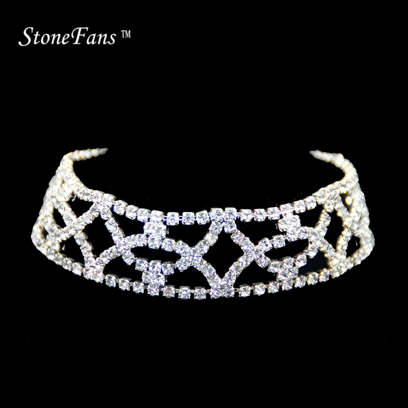 Chokers Necklaces For Women Zilver 2017 Collar Crystal Checkered Rhinestone Choker Necklace Statement Jewelry Gifts For Girl