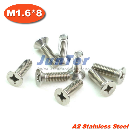 1000pcs lot DIN965 M1.6 8 Stainless Steel A2 Machine Phillips Flat Head  (Cross recessed countersunk head screws) Screw f4ccec241339