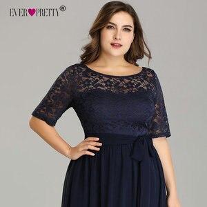 Image 5 - בתוספת גודל כחול כהה ערב שמלות אלגנטי ארוך אונליין חצי שרוול תחרה ערב מסיבת שמלות לחתונה Robe דה Soiree 2020