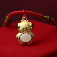 Pure 24K Yellow Gold Pendant Natural Jadeite Cute Pig Necklace Pendant Certificate
