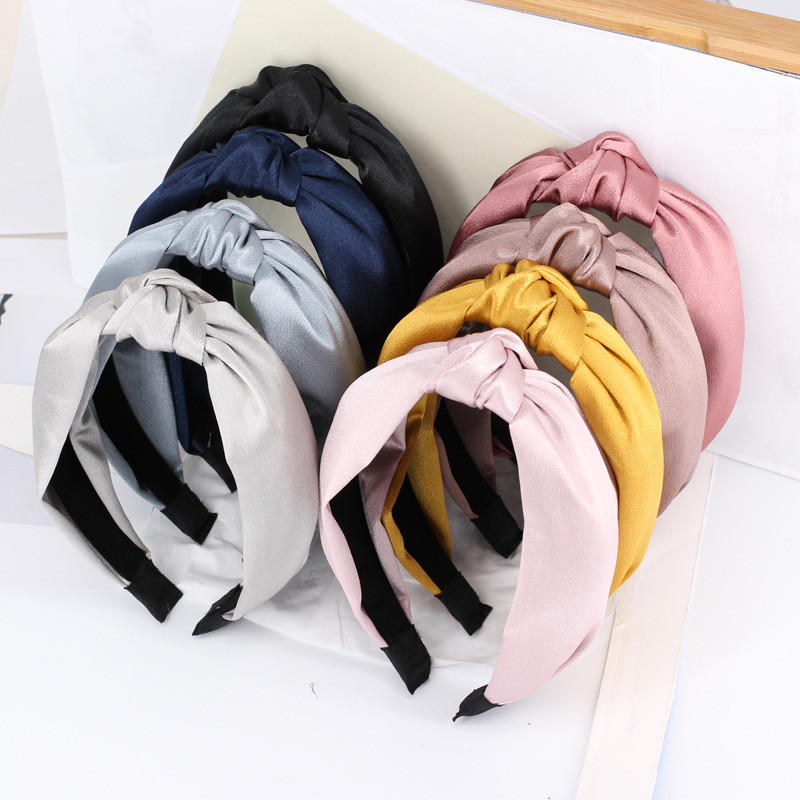 Free Shipping Fashion Women Pretty Solid Wide Knot Hairband Girl's Glossy College Cross Headband Lady's Korea Hair Accessories
