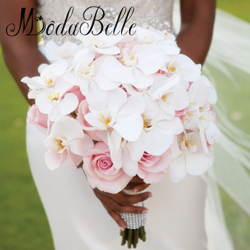 Average Cost Of Wedding Flowers 2014: Romantic 2017 Handmade Phalaenopsis Orchid Bridal Bouquet