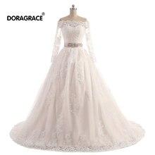 Doragrace Real Photo vestidos de noiva A Line Princess Applique Lace 3/4 Sleeve Wedding Dresses Plus Size Bridal Gowns